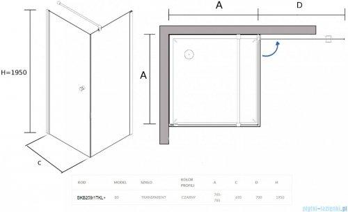 Sea Horse Fresh Line Black kabina natryskowa narożna kwadratowa 80x80cm lewa z powłoką przejrzyste BKB259/1TKL+