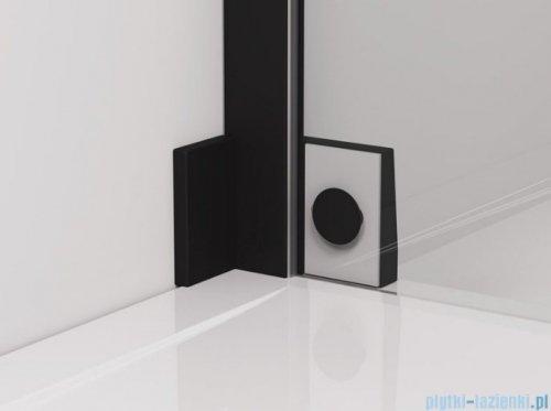 SanSwiss Cadura Black Line drzwi wahadłowe 100cm jednoczęściowe lewe z polem stałym czarny mat CA31CG1000607