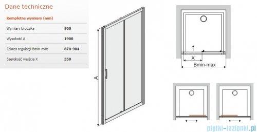 Sanplast Tx drzwi przesuwne D2/TX5b 90x190 cm przejrzyste 600-271-1100-38-401