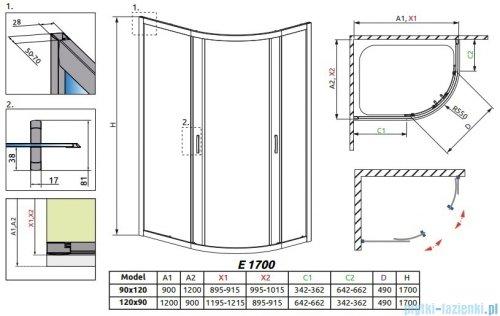 Radaway Premium Plus E Kabina półokrągła z drzwiami przesuwnymi 120x90x170 szkło przejrzyste 30483-01-01N