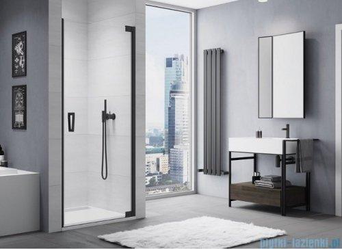 SanSwiss Cadura Black Line drzwi wahadłowe 90cm jednoczęściowe prawe z profilem przyściennym czarny mat CA1CD0900607