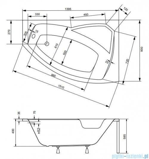Besco Rima 140x90cm wanna asymetryczna prawa + obudowa + syfon #WAR-140-NP/OAR-140-P/L/19975