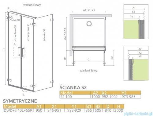 Radaway Arta Dwd+s kabina 95 (40L+55R) x100cm lewa szkło przejrzyste 386180-03-01L/386053-03-01R/386112-03-01