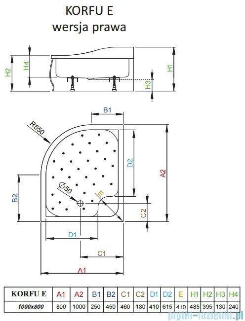 Radaway Korfu E Brodzik półokrągły 100x80 prawy bez obudowy 4E81400-03BR