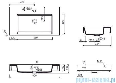 Marmorin Teo 800 umywalka wisząca 80x45 bez otworu przelewowego i bez otworu na baterie biała 641080020010