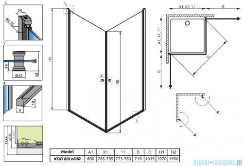 Radaway Eos KDD kabina prysznicowa 80x80 szkło intimato + Brodzik Delos C + syfon 37213-01-12N