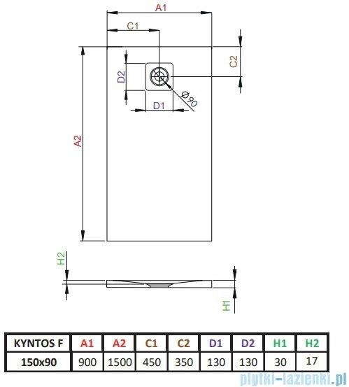 Radaway Kyntos F brodzik 150x90cm biały rysunek techniczny