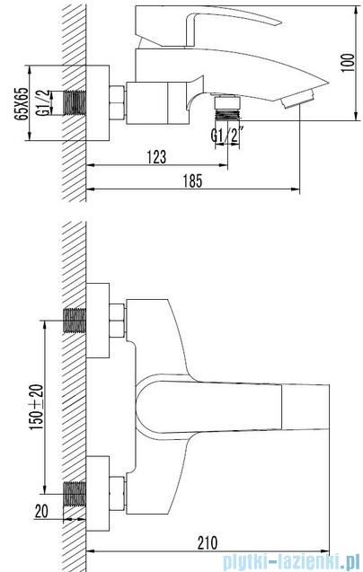 Omnires Murray bateria wannowa chrom MU6130CR