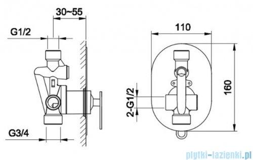 Kohlman Boxine zestaw prysznicowy chrom rysunek techniczny