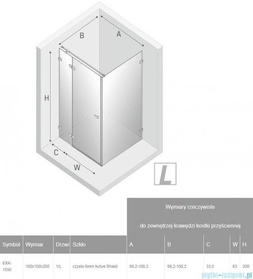 New Trendy Avexa Black kabina kwadratowa 100x100x200 cm przejrzyste lewa EXK-1590