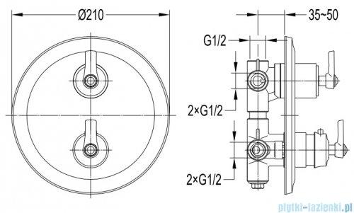 Omnires Armance bateria 3-wyjściowa podtynkowa termostatyczna chrom AM5238/6CR
