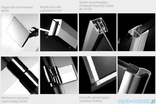 Radaway Almatea P Kabina półokrągła przyścienna 100x90 szkło grafitowe + Brodzik Delos P + syfon 30722-01-05N