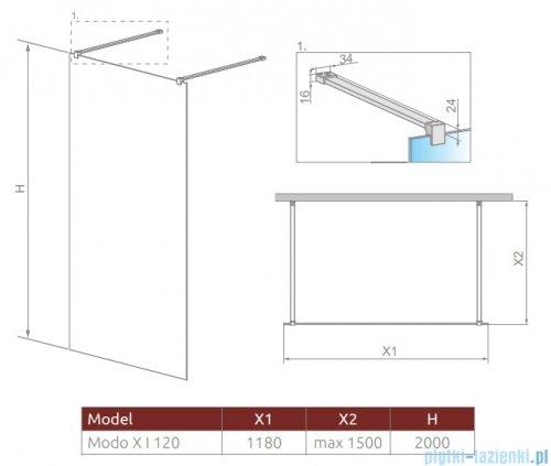 Radaway Modo X I kabina Walk-in 120x200 szkło przejrzyste 10mm 388324-01-01