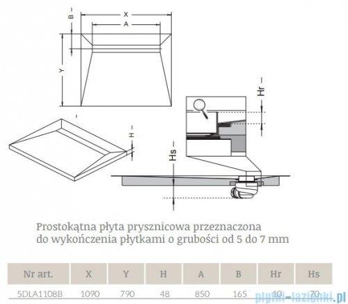 Radaway brodzik podpłytkowy z odpływem liniowym na dłuższym boku Steel 109x79cm 5DLA1108B,5R085S,5SL1