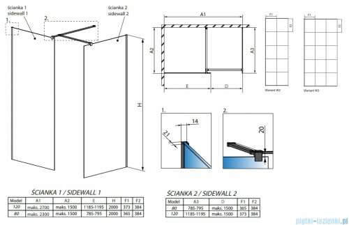 Radaway Modo New Black III kabina Walk-in 120x80x200 Frame rysunek techniczny