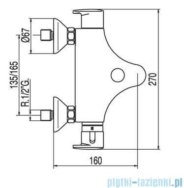 Tres Basic Bateria termostatyczna wannowa bez akcesoriów 1.90.172