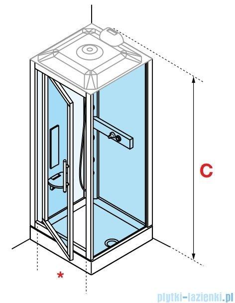 Novellini Glax 3 GF90 kabina masażowo-parowa 90x90 chrom GL3GF90T1N-1K
