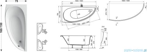 Ravak Wanna asymetryczna Avocado 160x75 Prawa CH01000000