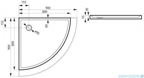 Massi Primero brodzik półokrągły 90x90cm biały MSBR-D101A-90-90
