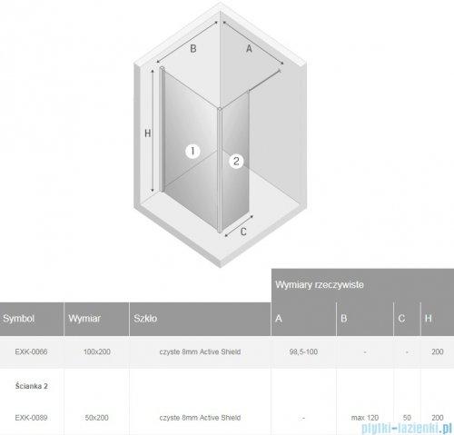 New Trendy New Modus Black kabina Walk-In 100x50x200 cm przejrzyste EXK-0066/EXK-0089