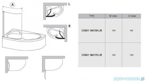 Ravak Rosa Chrome CVSK1 parawan nawannowy 160/170 prawy satyna transparent 7QRS0U00Y1
