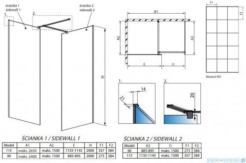 Radaway Modo New Black III kabina Walk-in 115x90x200 Frame rysunek techniczny