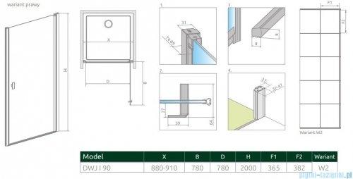 Radaway Nes Black Dwj I Factory Drzwi wnękowe 90cm prawe rysunek techniczny