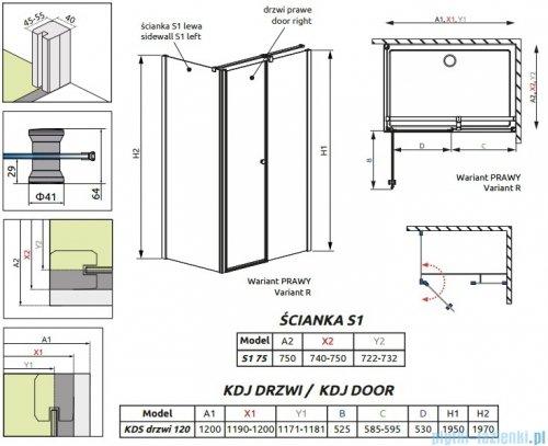 Radaway Eos II Kds kabina prysznicowa 120x75cm prawa szkło przejrzyste 3799484-01R/3799409-01L