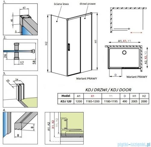 Radaway Idea Kdj drzwi 120cm prawe szkło przejrzyste 387042-01-01R