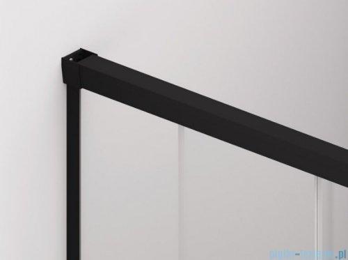 SanSwiss Cadura Black Line kabina Walk in 140cm prawa ze ścianką przesuwną profile czarny mat CAW2D1400607