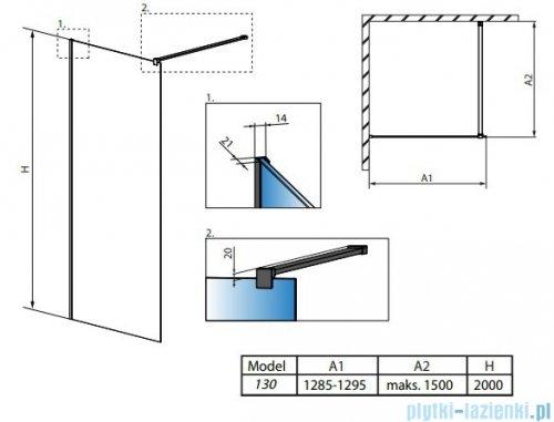 Radaway Modo X Black II Frame kabina Walk-in 130x200 szkło 10mm 389334-54-56