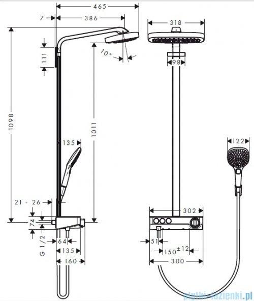 Hansgrohe Komplet prysznicowy Raindance Select E 300 3jet DN15 chrom 27127000