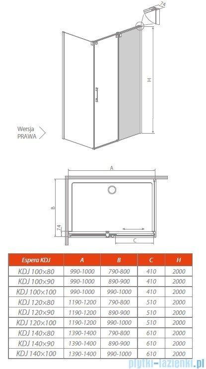 Radaway Espera KDJ Mirror kabina prysznicowa 120x100 prawa szkło przejrzyste 380595-01R/380232-71R/380140-01L