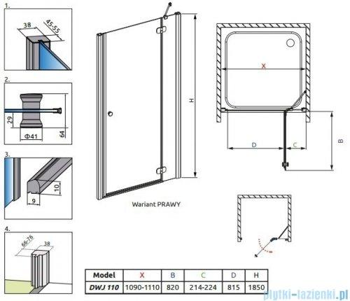 Radaway Torrenta DWJ Drzwi prysznicowe 110 prawe szkło grafitowe 32040-01-05N