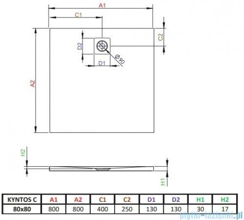 Radaway Kyntos C brodzik kwadratowy 80x80cm biały HKC8080-04