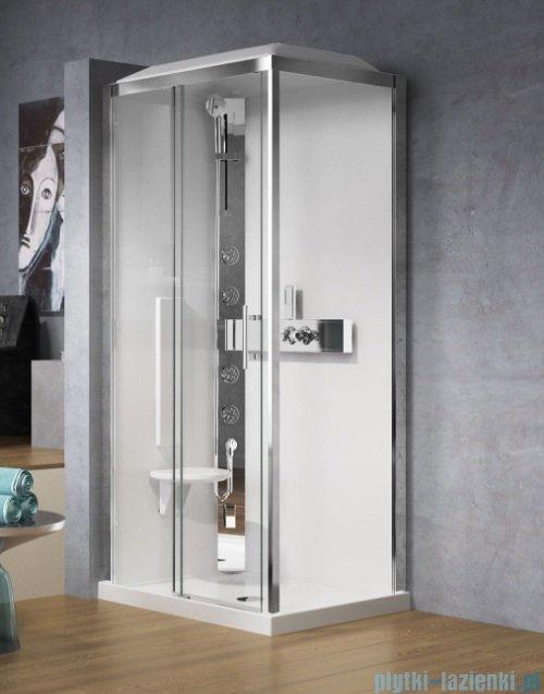 Novellini Glax 3 kabina prysznicowa z hydromasażem 120x90 lewa srebrny GL32P290SM1F-1B