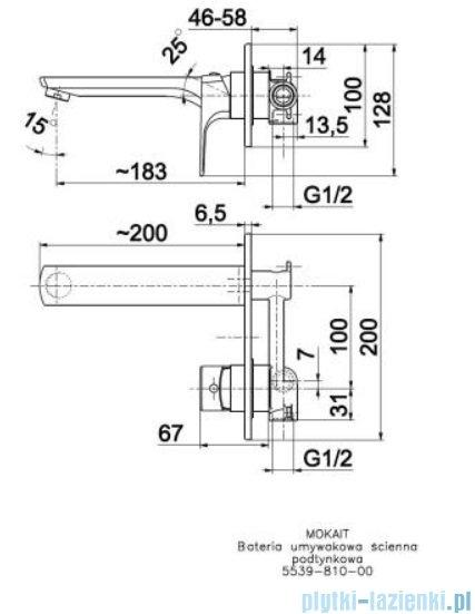 KFA Mokait ścienna bateria umywalkowa chrom 5539-810-00
