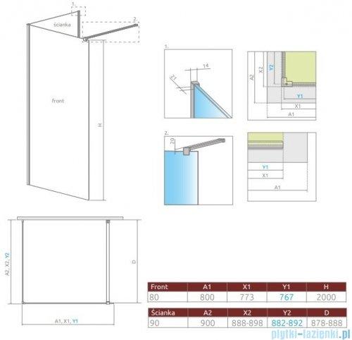 Radaway Modo New IV kabina Walk-in 80x90 szkło przejrzyste 389584-01-01/389094-01-01