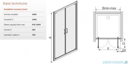 Sanplast Tx drzwi skrzydłowe DD/TX5b 100x190 cm przejrzyste 600-271-1940-38-401