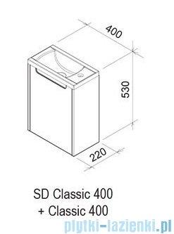 Ravak Classic SD 400 drzwi szafki lewe białe X000000420