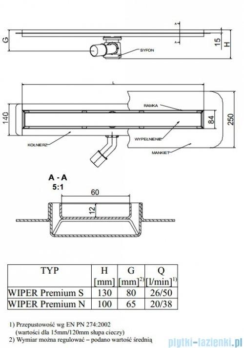 Wiper Odpływ liniowy Premium Zonda 70cm z kołnierzem mat Z700MPS100