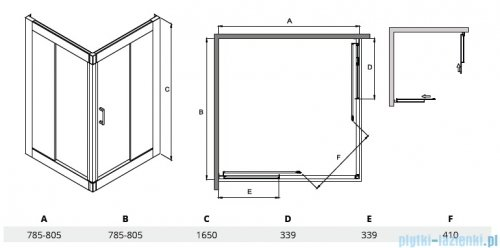 Besco Modern kabina kwadratowa 80x80x165cm mrożone MK-80-165-M