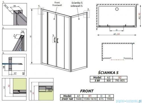 Radaway Premium Plus DWD+S kabina prysznicowa 160x80cm szkło przejrzyste 33363-01-01N/33413-01-01N
