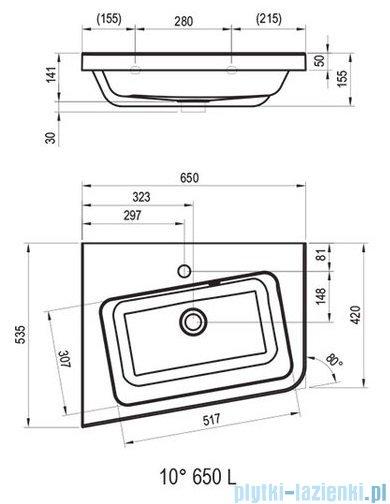 Ravak 10º umywalka 65x53,5cm lewa biała XJIL1165000