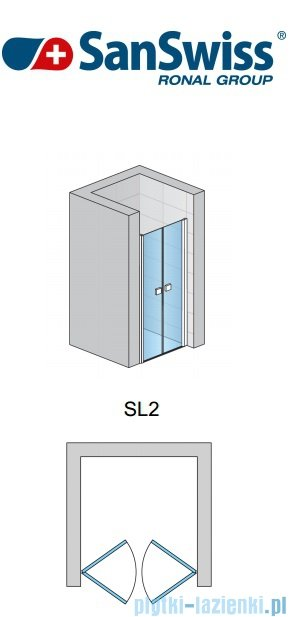 SanSwiss Swing Line SL2 Drzwi 2-częściowe 80cm profil biały SL208000407