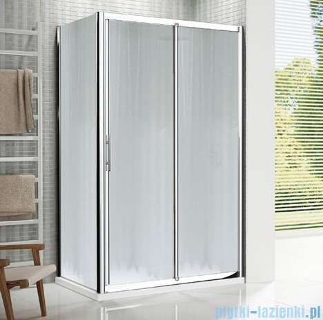 Novellini Drzwi prysznicowe przesuwne LUNES 2P 96 cm szkło przejrzyste profil biały LUNES2P96-1D