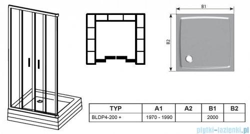 Ravak Blix BLDP4 drzwi prysznicowe 200cm aluminium transparent Anticalc 0YVK0C00Z1