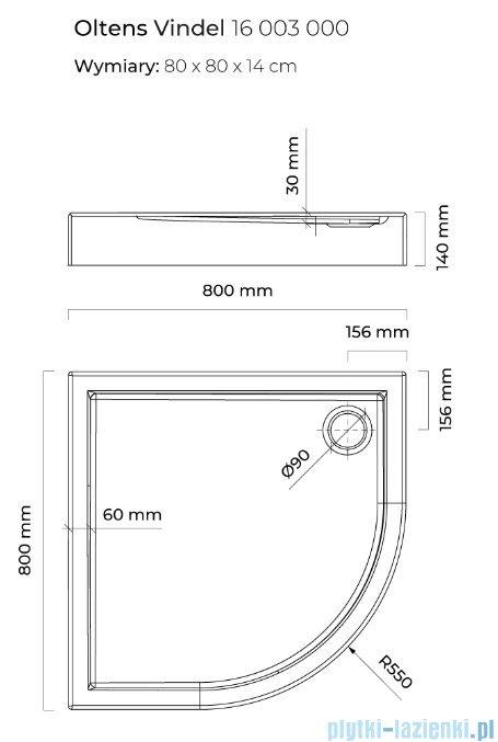 Oltens Vindel brodzik półokrągły 80x80 cm 16003000