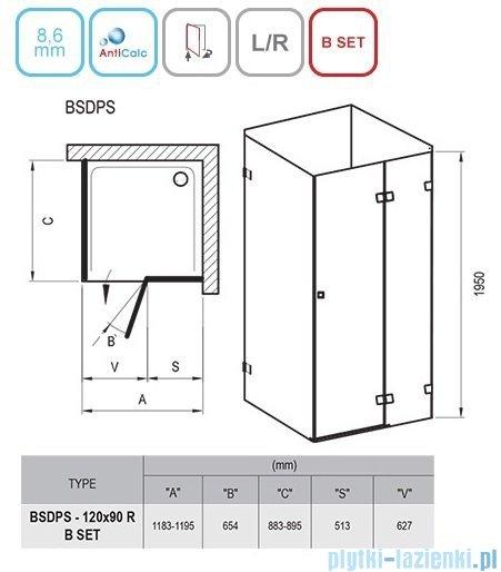 Ravak Brilliant BSDPS kabina prostokątna 120x90cm prawa transparent 0UPG7A00Z1
