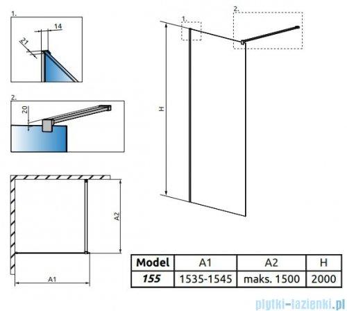 Radaway Modo X II kabina Walk-in 155x200 szkło przejrzyste 10mm 389355-01-01